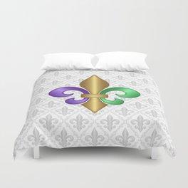 Purple Green and Gold Fleur-de-Lis on Gray Pattern Duvet Cover
