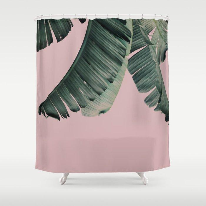 Banana Leaf Blush Shower Curtain