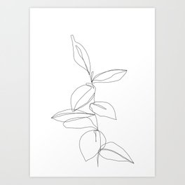One line minimal plant leaves drawing - Berry Art Print