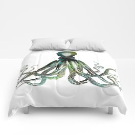 Octopus marine life watercolor art Comforters
