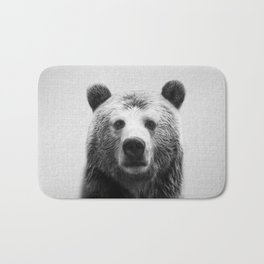 Bear - Black & White Bath Mat