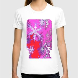Taffy Pink-Purple-Red  Snowflakes Holiday Design  T-shirt