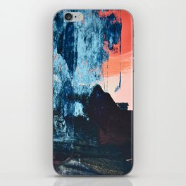 Delight: a vibrant abstract painting in blues and coral by Alyssa Hamilton Art iPhone Skin