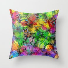 Dream Colored Leaves Throw Pillow