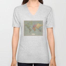 Vintage Map of The World (1889) Unisex V-Neck