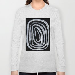 Rings Dark Gothic Black And White Minimalist Ghostly Abstract Art Long Sleeve T-shirt