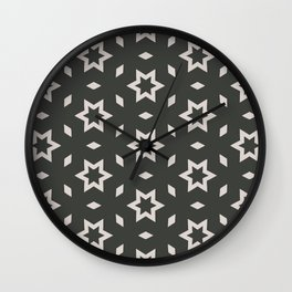 Black and white Stars Pattern Christmas Hollidays Wall Clock