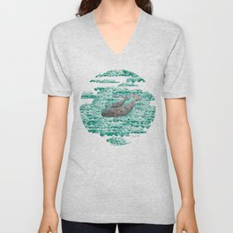 Mama + Baby Gray Whale in Ocean Clouds Unisex V-Neck