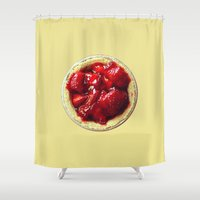 pie Shower Curtains featuring Strawberry Pie by MNO Photography