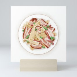Watercolor Illustration of Chinese Cuisine - Stir-fried bacon with winter bamboo shoots | 冬笋炒腊肉 Mini Art Print