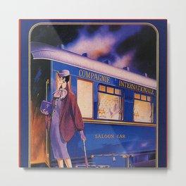 Vintage Orient Express Steam Engine Train Travel Poster Metal Print