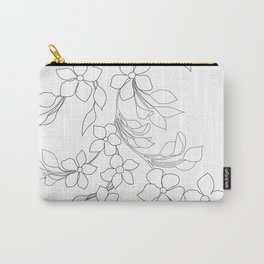 Minimal Wild Roses Line Art Carry-All Pouch