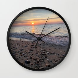Small waves during sunset on Herring Cove Beach in Ptown Wall Clock