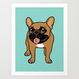 Black Mask Fawn French Bulldog is ready to play Art Print