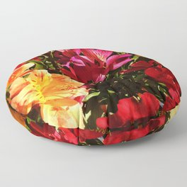 Summer Rainbow of Flower Blossoms Floor Pillow