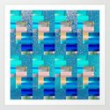 Geometric Glitter Rectangle Dimension in Cool Hues by carlieamberpartridge