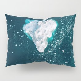 Heart of Winter - Aerial view of Icebergs in the arctic Ocean Pillow Sham