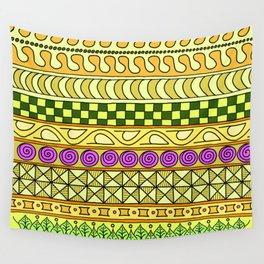 Yzor pattern 011 Yellow Things Wall Tapestry