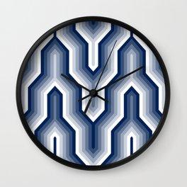 Retro Chevron Blue Wall Clock