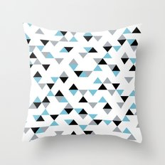 Triangles Ice Blue Throw Pillow