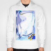 skiing Hoodies featuring Downhill Skiing by Robin Curtiss