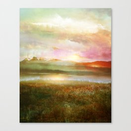 Sunset and flowers Canvas Print