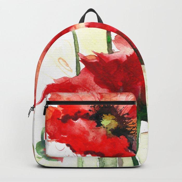 Watercolor flowers of aquarelle poppies Backpack