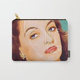 Bette Davis Vintage Hollywood Line Art Pastel Portrait Carry-All Pouch