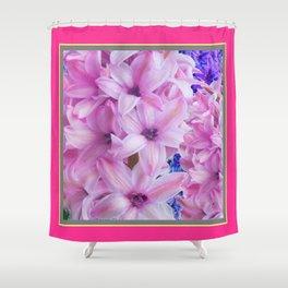 Rose Pink Color Hyacinths Floral Art Design Shower Curtain