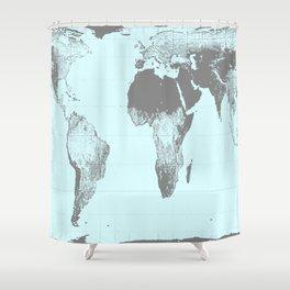 World Map : Gall Peters Aqua Shower Curtain