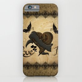 Wonderful elegant steampunk heart with butterflies iPhone Case