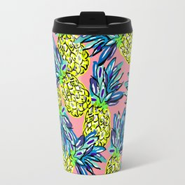 pineapples on flamingo pink Travel Mug