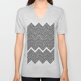 Woven Chevron - Black + White Unisex V-Neck