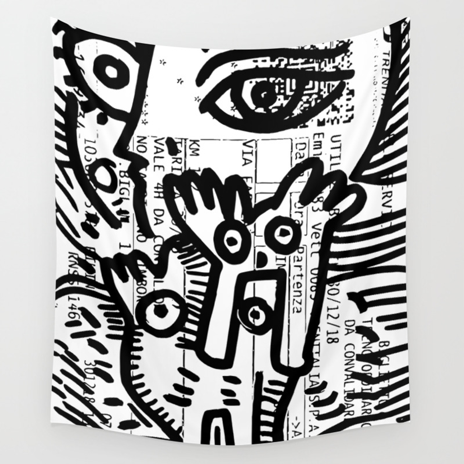 Street art graffiti black and white on french train ticket wall tapestry