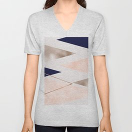 Rose gold french navy geometric Unisex V-Neck