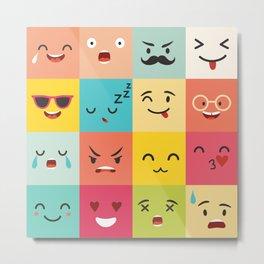 Emoticons vector pattern. Emoji square icons Metal Print