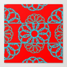 Turquoise & Red Overlapping Scalloped Links & Rings Canvas Print