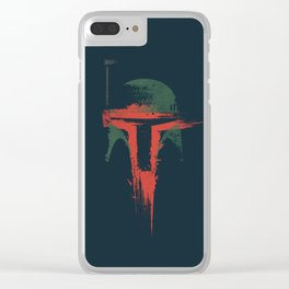 Boba Fett Helmet - StarWars Abstract Painting Clear iPhone Case