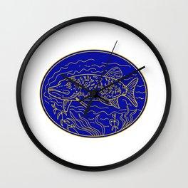 Northern Pike Fish Oval Mono Line Wall Clock