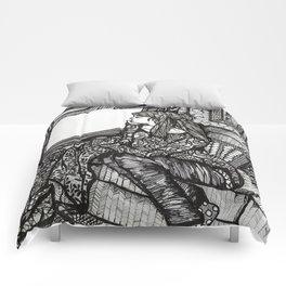 contemplating girl Comforters