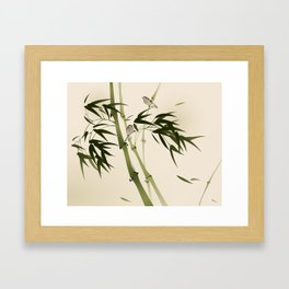 Oriental style painting, bamboo branches Framed Art Print