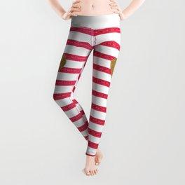 Elegant faux gold glitter heart hot pink modern stripes Leggings