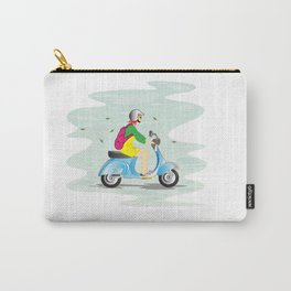 Girl on Scooter Vespa Cartoon Helmet Woman Carry-All Pouch