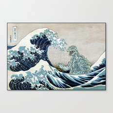 Godzilla Off Kanagawa Canvas Print