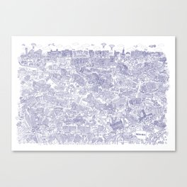 Illustrated map of Berlin-Mitte. Ink pen design Canvas Print