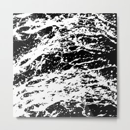 Black and White Paint Splatter Metal Print