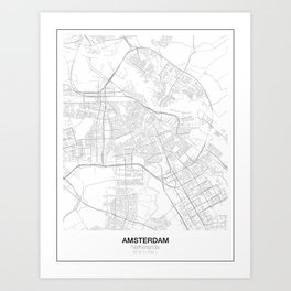 Amsterdam, Netherlands Minimalist Style Map Art Print