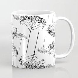 Monochrome botanical pattern. Hand-drawn dry flower twigs. Coffee Mug
