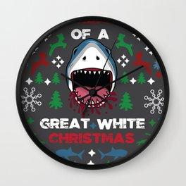 White Christmas Shark Ugly Cardigan Gift Wall Clock