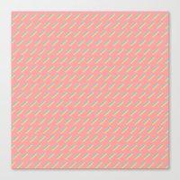 80's Pastel Stripes on Pink  /// www.pencilmeinstationery.com Canvas Print